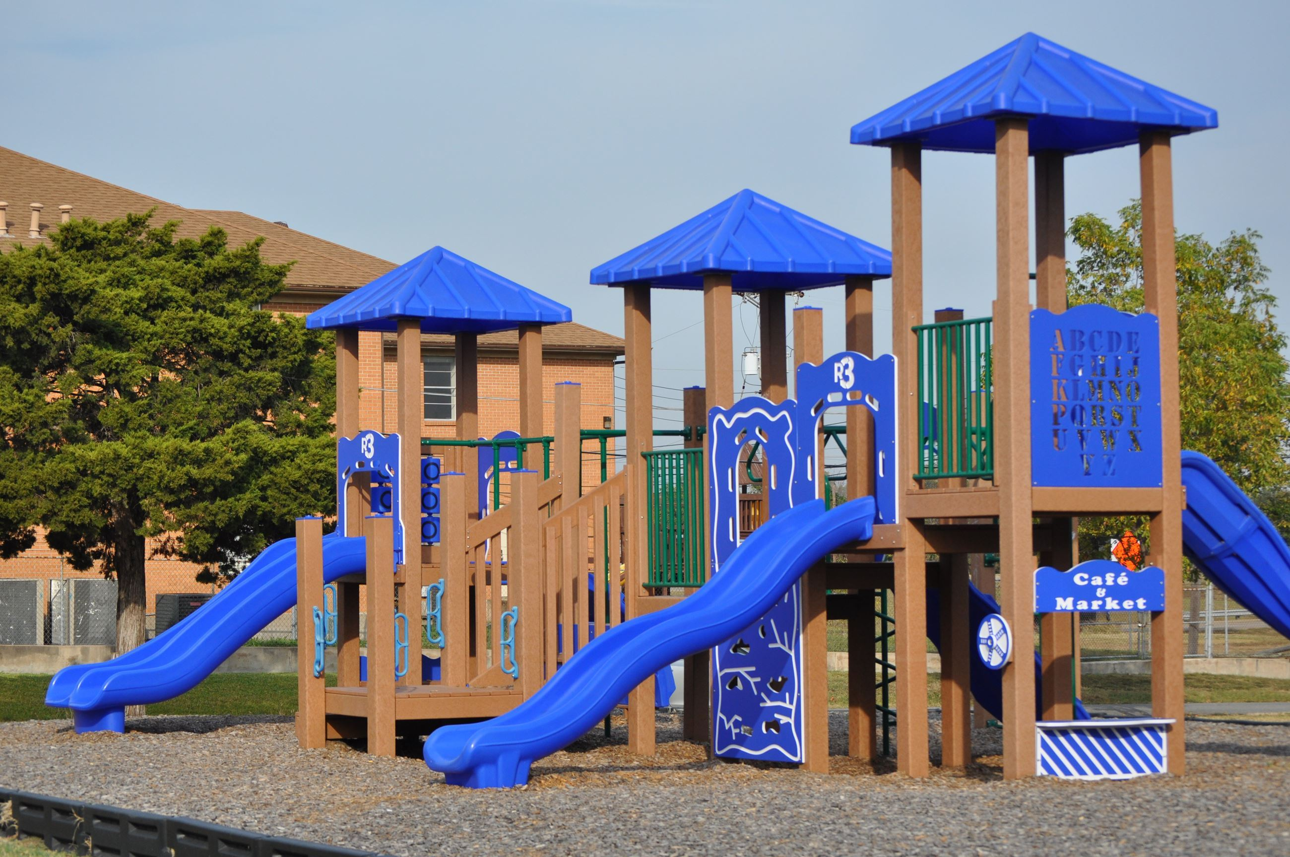 Image of blue and brown jungle gym