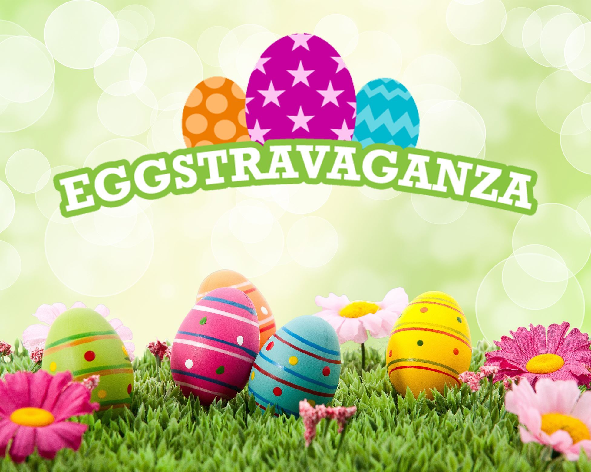 Eggstravaganza with image of colored eggs