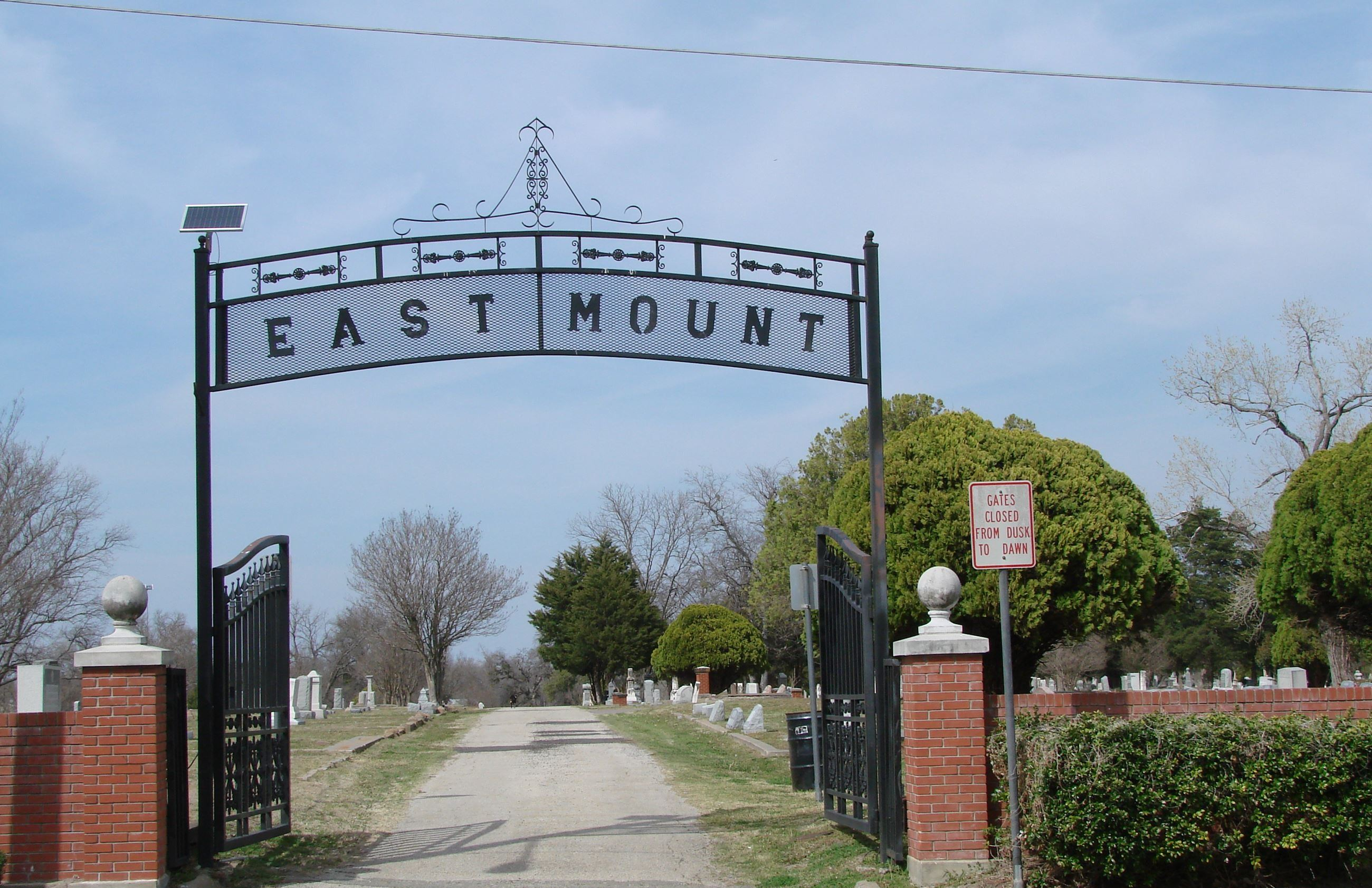 East Mount Cemetery gate with brick fence